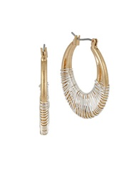 Robert Lee Morris Soho Earresponsible Two Tone Wire Wrapped Hoop Earrings Gold