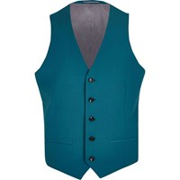 River Island Mens Green Blue Suit Waistcoat
