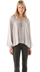 Ramy Brook Paris V Neck Caftan Blouse Light Grey
