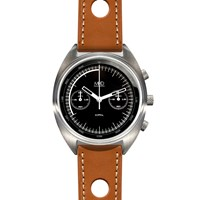 Mhd Watches Mhdcr1 Chronograph Watch With Black Dial And Tan Strap Black White Grey