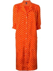 Emanuel Ungaro Vintage Polka Dot Shirt Dress Yellow And Orange