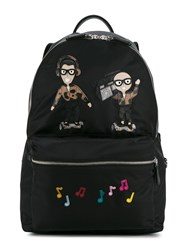 Dolce And Gabbana Patch Embroidered Backpack Black