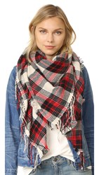 Madewell Plaid Cozy Weave Scarf Pebble Stone