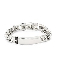 Saks Fifth Avenue Diamond And Stainless Steel Bracelet Silver