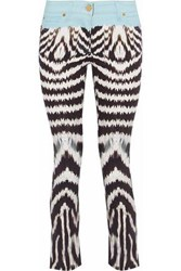 Roberto Cavalli Cropped Printed Low Rise Skinny Jeans Multicolor