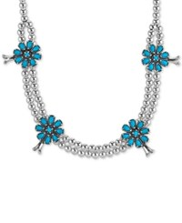 Macy's Manufactured Turquoise 5 1 5 Cttw Flower Beaded Statement Necklace Silver