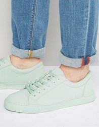 Asos Lace Up Sneakers In Mint Block Green