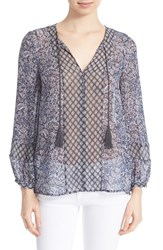 Women's Joie 'Germinia' Paisley Print Silk Peasant Top