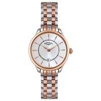 Rotary Lb02917 02 Women's Elise Two Tone Bracelet Strap Watch Rose Gold Silver