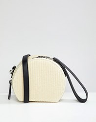 Stradivarius Circle Straw Clutch Cream