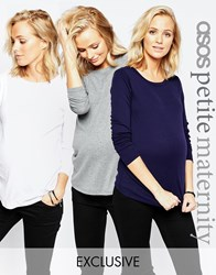 Asos Maternity Petite Crew Neck Top With Long Sleeves 3 Pack Save 15 Multi