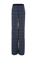 Hellessy Anton Midnight Straight Leg Grid Silk Pant Plaid