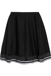 Ostwald Helgason Pleated Wool Blend Felt Mini Skirt