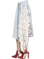Act N 1 Linen Midi Skirt W Lace And Printed Panel