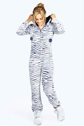 Boohoo Amber Luxe Fleece Zebra One Piece Navy