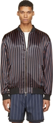 3.1 Phillip Lim Midnight Blue And White Striped Reversible Bomber Jacket