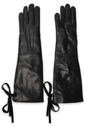 Ann Demeulemeester Woman Bow Detailed Leather Gloves Black