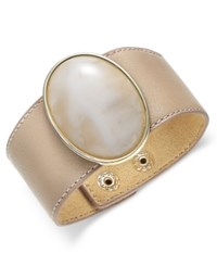 Inc International Concepts Gold Tone Large Stone Wide Faux Leather Bracelet Only At Macy's Neutral