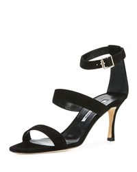 Manolo Blahnik Kaotic Suede Strappy 70Mm Sandal Black