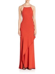 Jason Wu Draped Sleeveless Gown Poppy