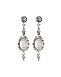 Konstantino Aura Crystal And Mother Of Pearl Doublet Dangle Earrings White