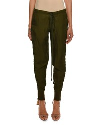 Tom Ford Drawstring Side Zip Slouchy Track Pants Olive
