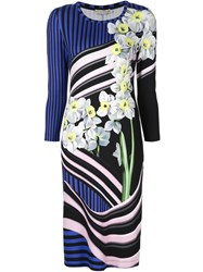 Mary Katrantzou Floral Jersey Dress Blue