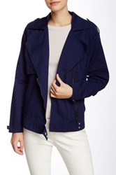 Michael Stars Moto Trench Jacket Blue