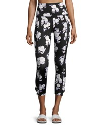 Beyond Yoga X Kate Spade New York Luxe Floral Cinched Side Bow Leggings Black Black Pattern