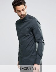 Only And Sons Skinny Smart Grandad Shirt Charcoal Grey