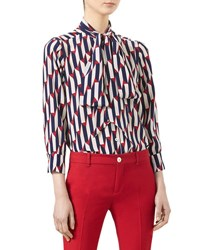 Gucci Arrow Print 3 4 Sleeve Shirt Blue Red Blue Red Printed