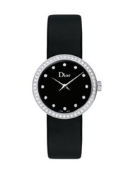 Christian Dior La D De Diamond Stainless Steel And Satin Strap Watch Black