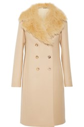 The Row Roza Shearling Trimmed Double Breasted Wool Twill Coat Sand