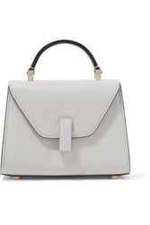 Valextra Iside Micro Textured Leather Shoulder Bag Stone