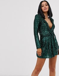 Lioness Glitter Plunge Front Ruffle Mini Dress In Teal Green