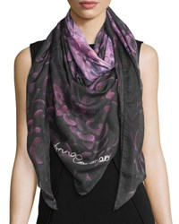 Anna Coroneo Floral Voile Square Scarf Pink Navy Pink Navy