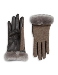 Ugg Faux Fur Lined Shearling Cuff Wool Blend And Leather Gloves Storm Grey