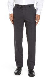 Berle Men's Flat Front Stretch Solid Wool Trousers Medium Grey