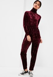 Missguided Burgundy High Neck Long Sleeve Crushed Velvet Jumpsuit