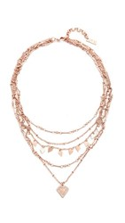 Luv Aj The Moonstone Multi Charm Necklace Rose Gold