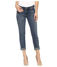 Kut From The Kloth Amy Crop Straight Leg In Dominant Dominant Medium Base Wash Women's Jeans Blue