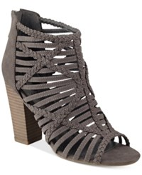 G By Guess Jelus Caged Sandals Women's Shoes Charcoal