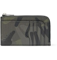 Alexander Mcqueen Camouflage Print Full Grain Leather Cardholder Army Green