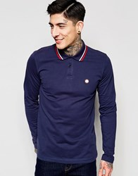 Pretty Green Polo Shirt With Tipping In Long Sleeves Navy Navy