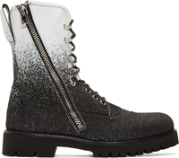 Mcq By Alexander Mcqueen Black And White Spraypainted Denim Combat Boots