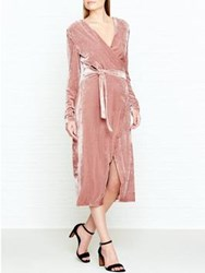 Keepsake Eventually Long Sleeve Velvet Wrap Dress Pink
