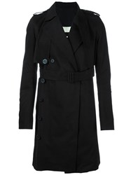 Rick Owens Belted Trench Cot Black