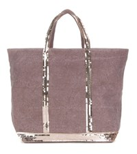 Vanessa Bruno Cabas Medium Embellished Canvas Shopper Purple