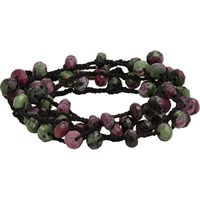 Ruby Zoisite Bead And Braided Silk Wrap Bracelet Multi