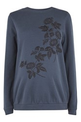 Topshop Maternity Floral Embroidered Ring Sweatshirt Navy Blue